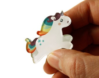 Unicorn Brooch, Unicorn Pin, Badge, Acrylic Brooch, Acrylic Glass