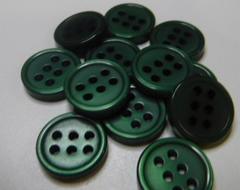 12 Forest Green 6 Hole Round Buttons Size 1/2""