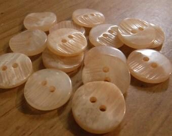 """28 Peach Half Rake Round Buttons Size 9/16"""""""