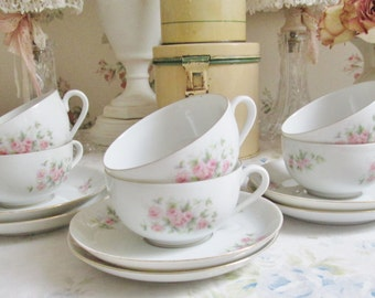 shabby chic cup and saucer set of 6 porcelain porcelian pink rose tea cup and saucers tea party