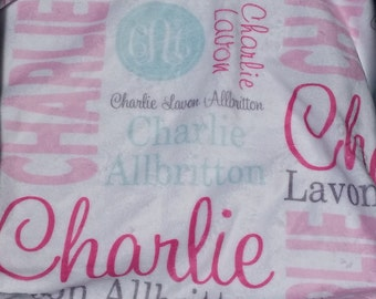 Personalized Baby Blanket, Monogrammed Baby Blanket, Swaddle, Photo Prop, Receiving Blanket, Newborn, Baby Gift, Nursing Blanket