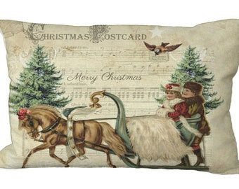 Lumbar Christmas Pony Sleigh Postcard Oblong in Choice of 18x12 20x13 24x16 Inch Pillow Cover