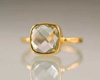SALE - Green Amethyst Cushion Cut Ring Gold - Gemstone Ring - Gold Ring - Bezel Ring - Stackable Ring