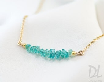 Rough Raw Blue Apatite Bar Necklace - Raw Stone Necklace - Gemstone Bar Necklaces - Layering Necklace - Delicate Gemstone Necklace - Minimal