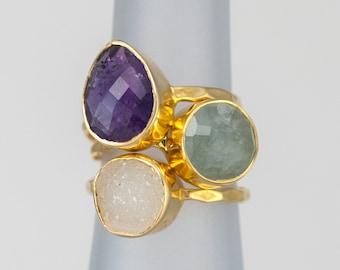 Size 6 Ring- Stackable Stone Ring Set - Stacking Ring - Stackable Rings - Birthstone Ring-  Mothers Rings  - Three Ring Set