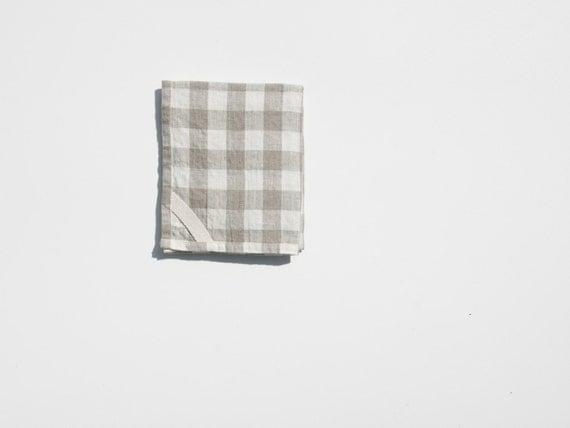 Linen Dish Towel in Gingham