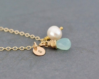 Personalized Peruvian Aqua Chalcedony Necklace, Freshwater Pearl, 14K Gold Filled, Monogrammed Gift, Gift Under 45