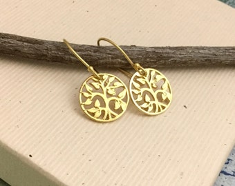 Gold tree of life earrings, 18Kt gold vermeil, circle earrings, nature, everyday, minimalist, simple dainty jewelry N116