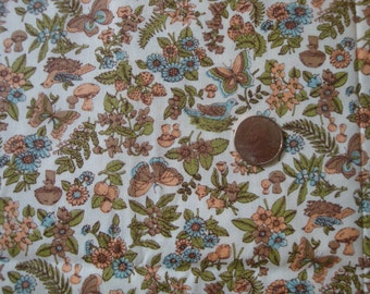 Small Print Cotton Fabric: Butterfly, Bird, Mushroom Botanical Motif