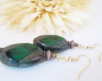 Dark Green and Copper Earrings, Birthday Gift for Girlfriend, Boho Earrings, Bohemian Statement Earrings, Clip On, Forest Green Earrings