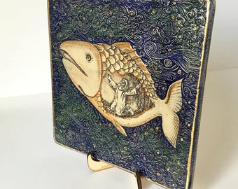 NEW Jonah and the Whale Ceramic Plaque / Aall Art Hand made - 24k Gold Ornaments - Limited Edition - Jewish Gift Art Judaica Free Shipping