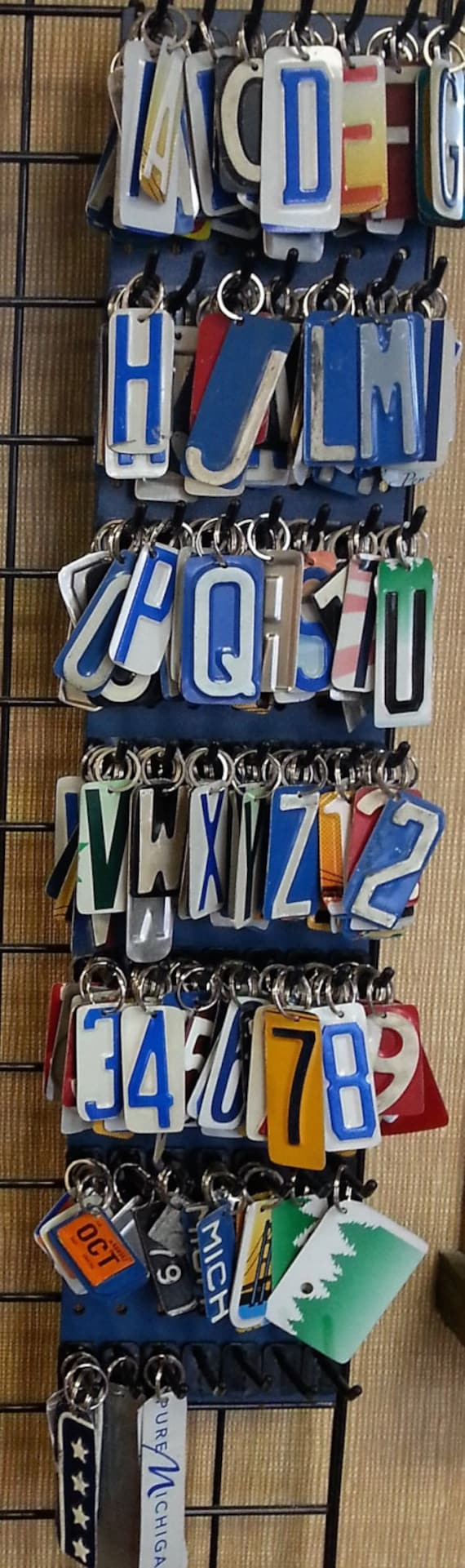 Key Chain, Handcrafted from Recycled License Plates, Letter key rings, Number key rings, license plate key ring, letter/ number Key chains