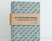 All Year Round Timeless Journal / Planner (Self-filled dates, fabric wrapped) - Owls Birds