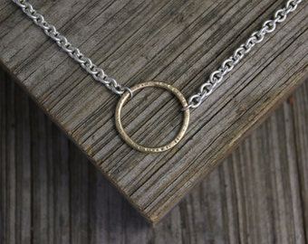 Silver and Gold Circle Necklace, Linked Circle Necklace, Sterling Silver & 14k Yellow Gold Necklace, Hammered Circle Necklace, Ready to Ship