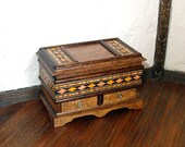 Blanket Chest with Inlay, Dollhouse Miniature 1/12 Scale, Hand Made