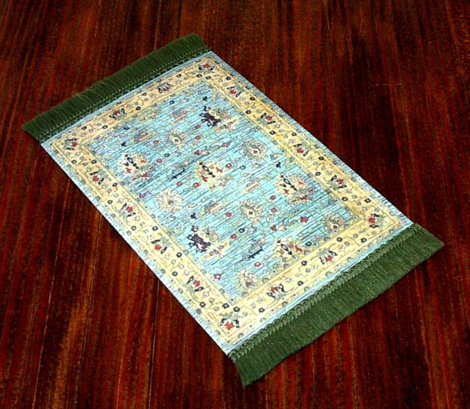 Teal And Gold Area Rug Dollhouse Miniature 1/12 Scale Hand