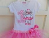 EXCLUSIVE  Lamb 1st  Birthday Applique Tutu Tshirt Dress for Children by Bubblebabys