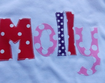 Personalized Chunky Letter Name Applique T Shirt for Children by Bubblebabys-EXCLUSIVE