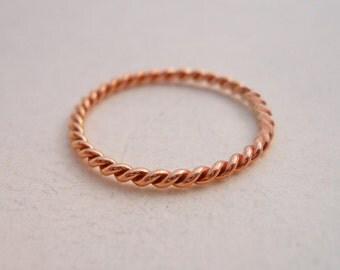 Mini Stacking Twist 14k ROSE Gold Filled Pink