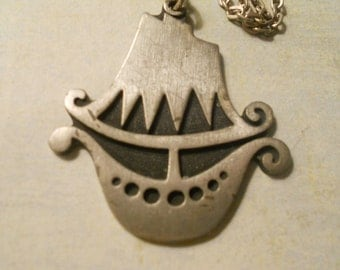 R. Tennesmed Clipper Ship Pendant Necklace ~ Beautiful and Rare Item with Artist Name
