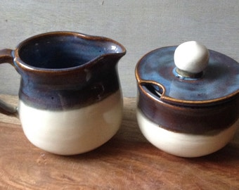 Ceramic Cream and Sugar Set, Handmade Pottery Cream and Sugar Set, Handmade Pottery Serving Set, Rustic Modern Pottery for the Kitchen