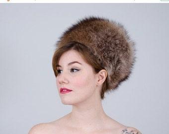 25% OFF SALE / 1960s vintage hat / mod fur hat / raccoon fur hat