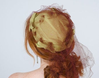 25% OFF SALE / 1940s vintage hat / wool hat / Chartreuse
