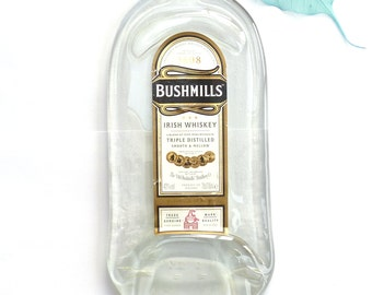 Melted bottle ~ Flat bottle wall hanging, Bushmills Irish Whiskey, flattened recycled slumped glass bottle,  gift for whiskey lovers