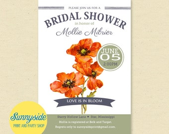 Poppy Bridal Shower Invitation - Shower Invite with Poppies Wildflowers - Seed Inspired