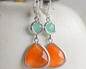 Orange and Aqua Dangle Earrings in Silver.  Orange Teardrop Mint Aqua Drop Earrings. Bridemaid Earrings. Bridesmaid Jewelry. Jewel Earrings.