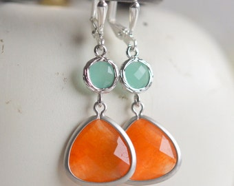 Orange and Aqua Dangle Earrings in Silver.  Orange Teardrop Mint Aqua Drop Earrings. Bridemaid Earrings. Bridesmaid Jewelry. Jewel Earrings.