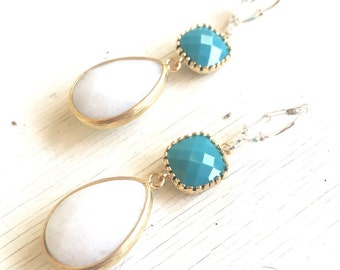 White Teardrop and Teal Jewel Dangle Earrings. Bridesmaids Earrings. Statement Fashion Earrings. Teal White Drop Earrings. Gift.