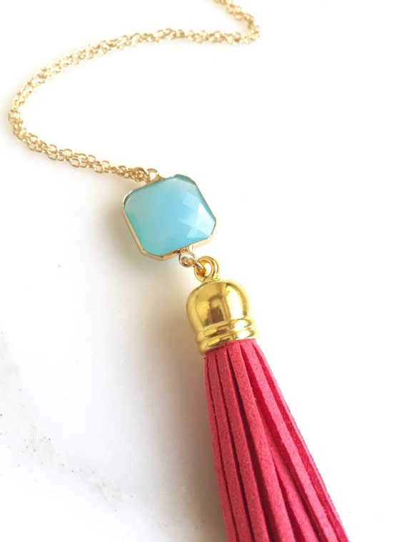 Tassel Necklace in Fuchsia and Blue. Leather Tassel.  Long Gold Tassel Necklace. Gold Tassel Necklace.  Boho Style. Strand Necklace.