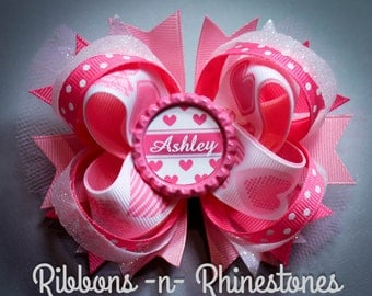 Personalized Heart Boutique Hair Bow, Pink Hearts Bow, Pink Boutique Bow, Personalized Bow