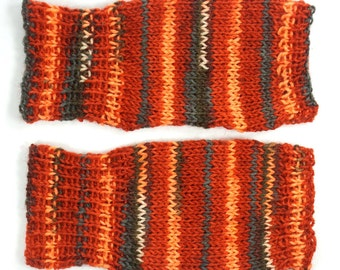 Pumpkin Orange Striped Knitted Fingerless Gloves Handwarmers Texting Mitts Bike Gloves Hand Knit Mittens for Teen Girl Women Small Medium
