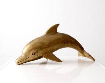 mid-century brass dolphin, large statue