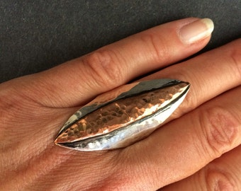 Striking Sterling and Copper Ring