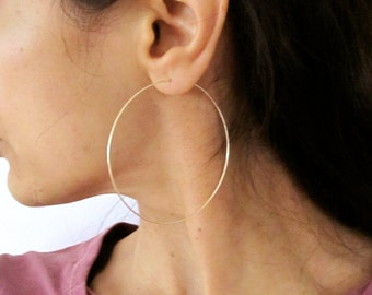 "2.5"" sterling silver, yellow or rose gold filled big hoop earrings, modern hoops earrings"