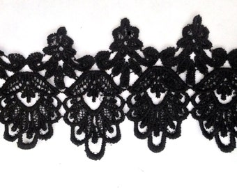 1 Yards Black Venice Lace Venise Trim 4 3/4 inch Wide SHIPS FROM USA