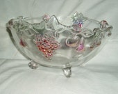 Footed Crystal Fruit Bowl, Raised Colored Fruit Accents