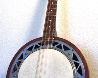 Vintage Mandolin Banjo Banjolin Beautiful shape 1940s 8 String