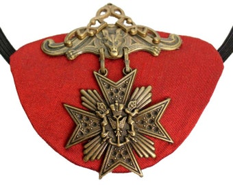 Red Eye Patch Scarlet Medallion Victorian Steampunk Gothic Pirate Fashion Gypsy