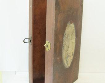 Wood Box - Vintage Art / Craft Supply Children's Toy Box with Graphic Label