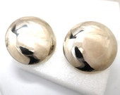 Vintage Silver Button Earrings XL Statement Boho Retro Bride Prom Light and Lovely LARGE