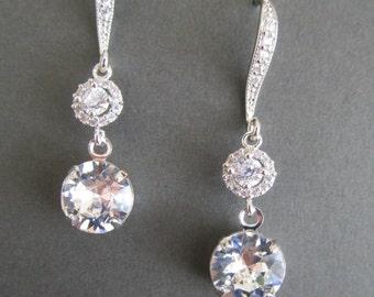 Bridal Earrings Crystal, Bridesmaids Earrings, Swarovski Crystal Earrings, Cubic Zirconia Bridal Earrings, Wedding Jewellery, Bridal Jewelry