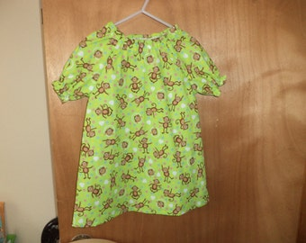 Peasant Dress Monkeys on Green, Toddler Size 2T only, Ready to Ship