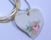 Rose Heart Pendant Hand Cut Broken China with Satin Cord #470
