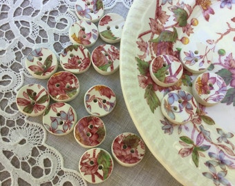 """Buttons, Set of 5, Pink, Aster, Floral, 5/8"""", Broken China, Sew On, Repurposed, Handmade, Vintage"""