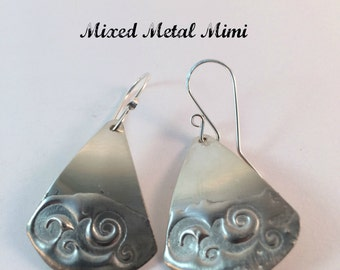Silver Earrings Sterling Silver Silver Stamped Waves Dangle Earrings Handcrafted Jewelry One Of Mixed Metals Recycled Canadian E-044