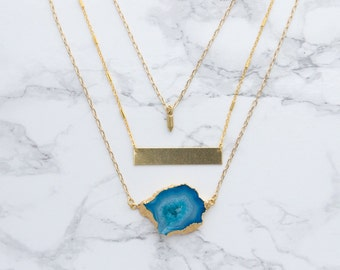 Blue Sliced Agate Necklace, Gemstone Layering Necklace, Gold Bar Necklace, Modern Statement Necklace, Spring and Summer 2016